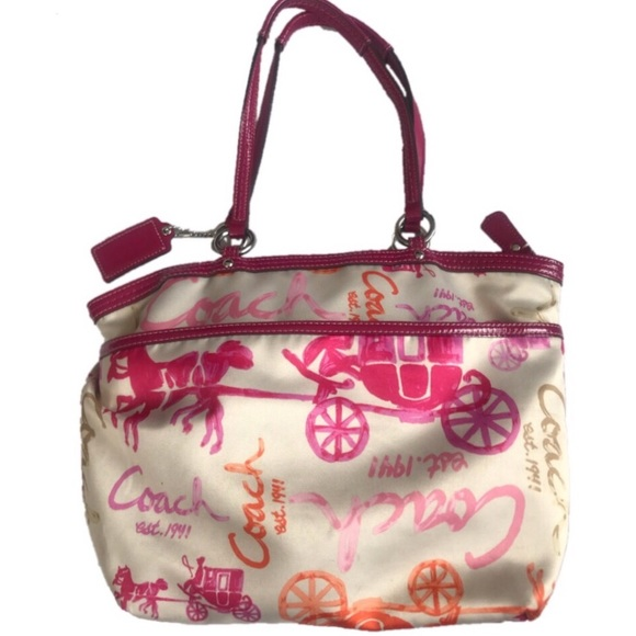 Coach satin signature tote with pink trim ef7aa7726fda6